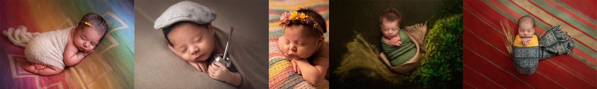 Tira de fotos de recién nacidos con la técnica Newborn Betiana Dos Santos, fotógrafa profesional